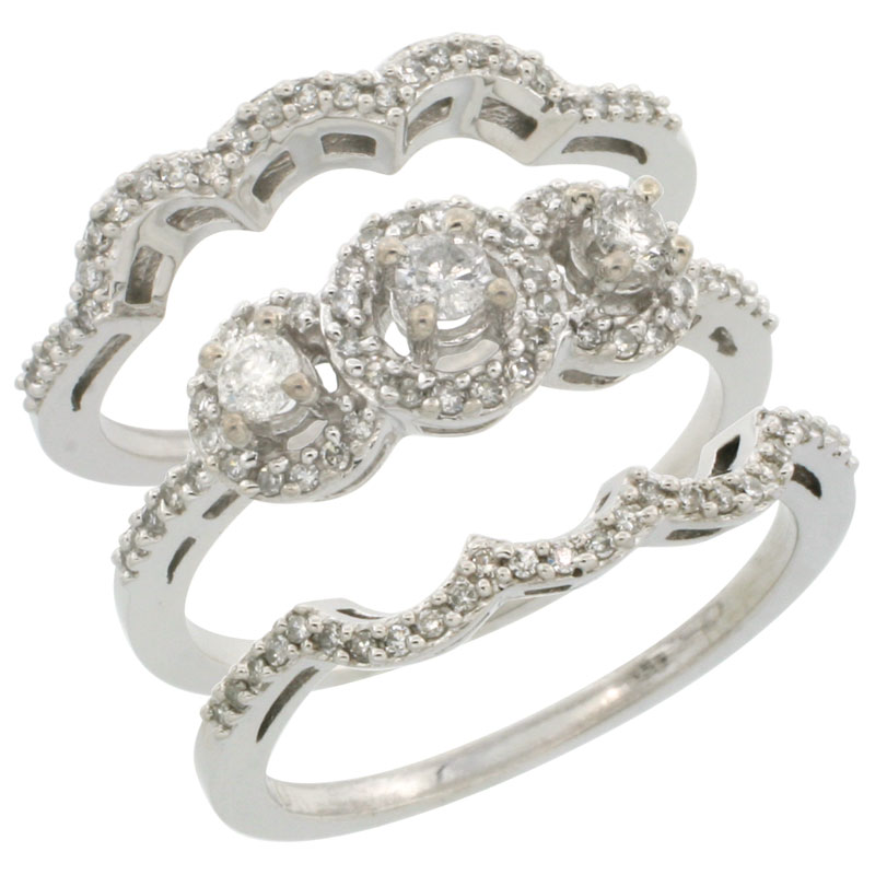 10K White Gold 3-Piece Diamond Engagement Ring Set 0.585 cttw Brilliant Cut Diamonds 3/8 inch wide