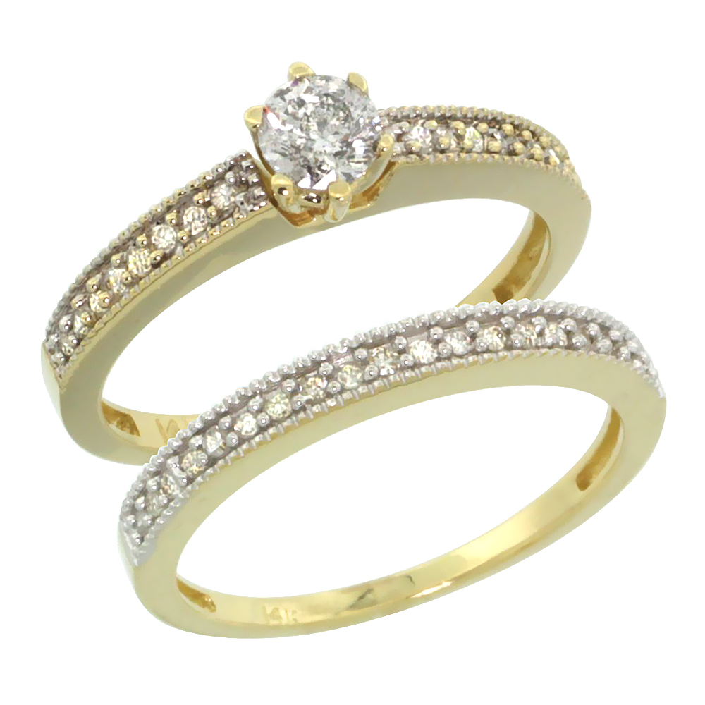 10k Gold 2-Pc. Diamond Engagement Ring Set w/ 0.50 Carat Brilliant Cut Diamonds, 1/8 in. (3mm) wide