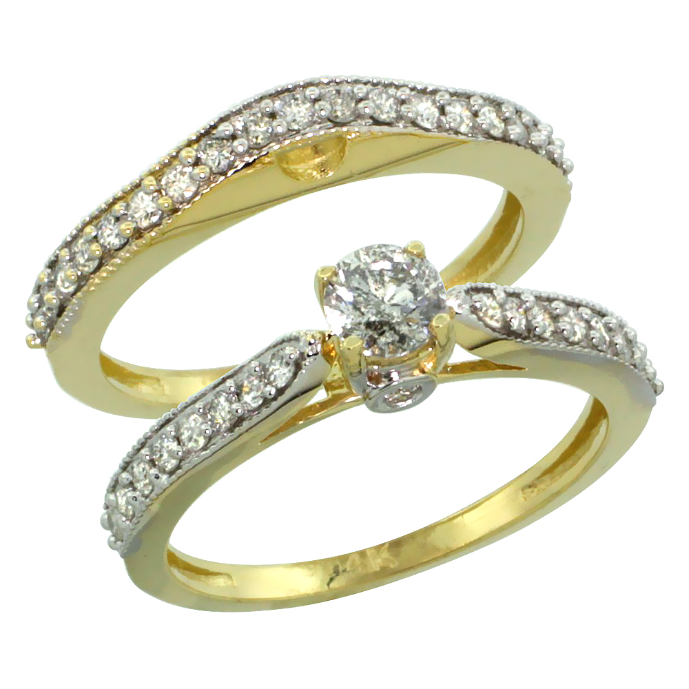 10k Gold 2-Pc. Diamond Engagement Ring Set w/ 0.92 Carat Brilliant Cut Diamonds, 1/8 in. (3mm) wide