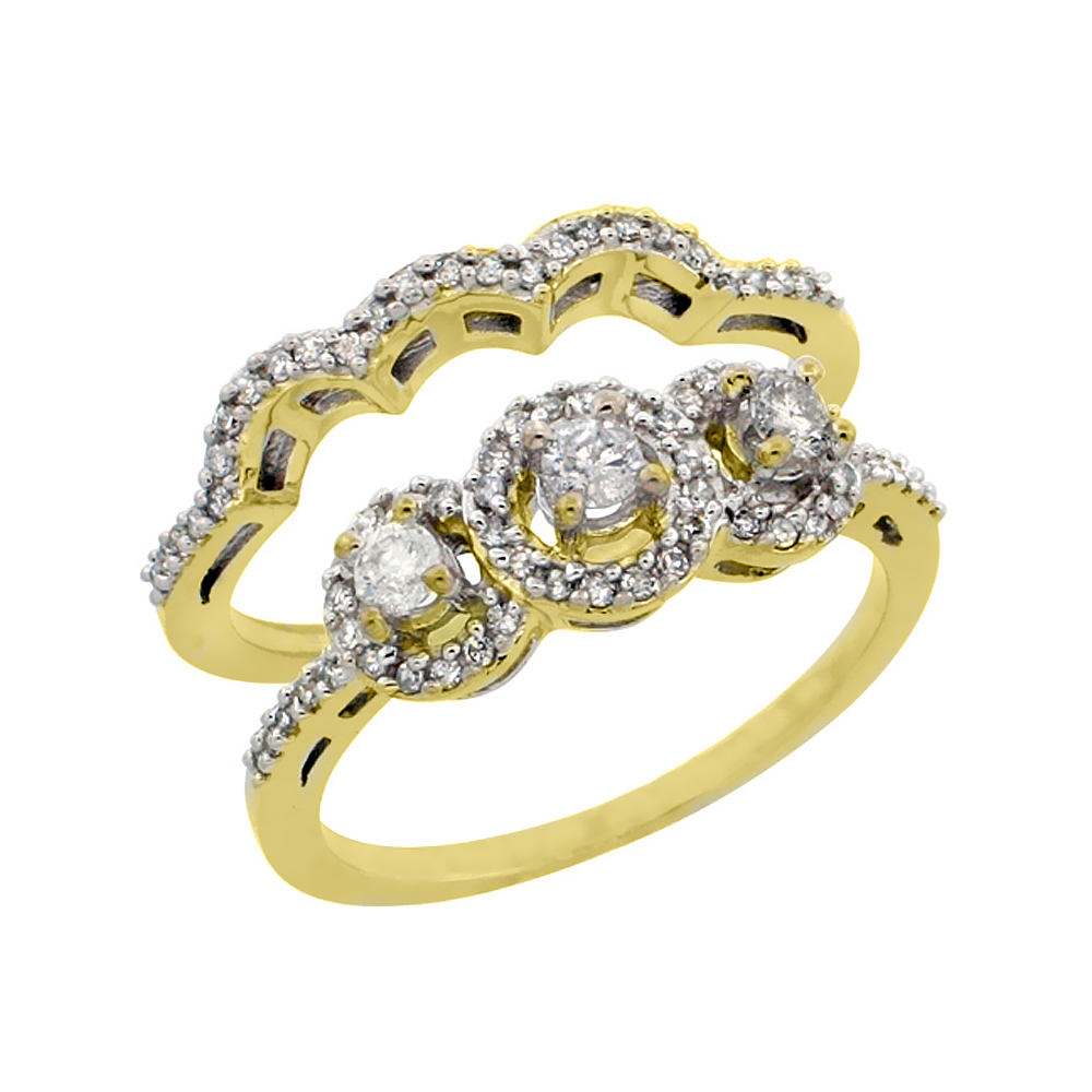 14k Yellow Gold 2-Piece Diamond Engagement Ring Set 0.48 cttw Brilliant Cut Diamonds 5/16 inch wide