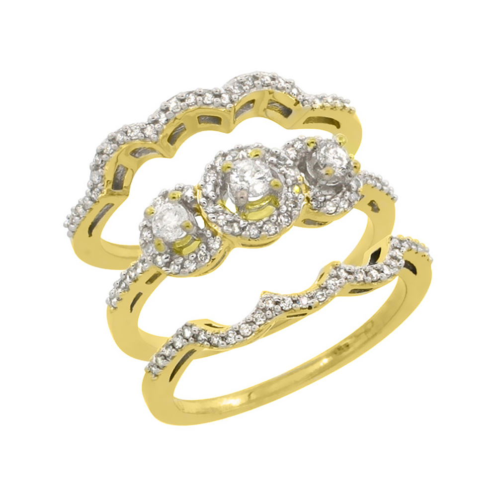 10K Yellow Gold 3-Piece Diamond Engagement Ring Set 0.585 cttw Brilliant Cut Diamonds 3/8 inch wide