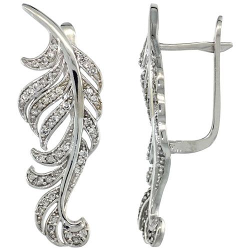 14k White Gold Large Leaf Diamond Earrings W 0 82 Carat Brilliant Cut H I Color
