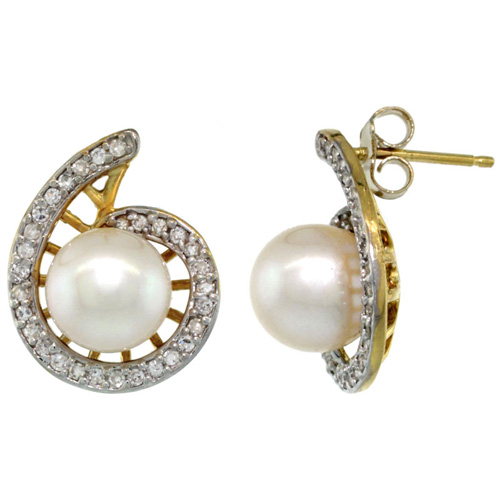 14k Gold Swirl Pearl Earrings w/ 0.33 Carat Brilliant Cut ( H-I Color; VS2-SI1 Clarity ) Diamonds & 7mm White Pearls