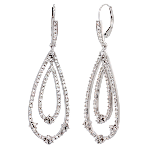 14K White Gold White Sapphire Tear Drop Earrings Diamond Accent, 2 3/16 inches long