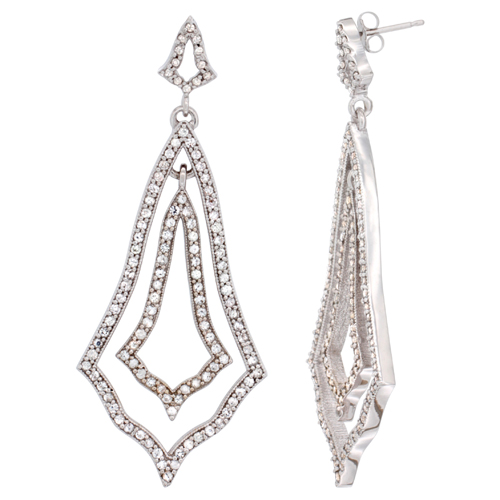 14K White Gold White Sapphire Earrings Diamond Accent, 2 1/4 inches long