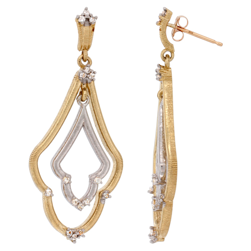 14K 2-tone Gold White Sapphire Earrings Diamond Accent, 1 3/4 inches long