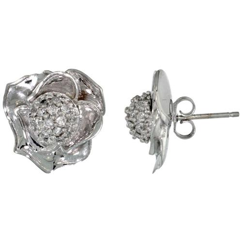 14k White Gold Rose Flower Earrings w/ 0.40 Carat Brilliant Cut ( H-I Color; VS2-SI1 Clarity ) Diamonds