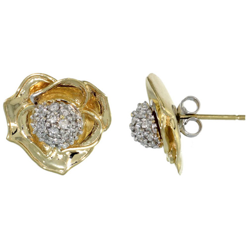 14k Gold Rose Flower Earrings w/ 0.40 Carat Brilliant Cut ( H-I Color; VS2-SI1 Clarity ) Diamonds