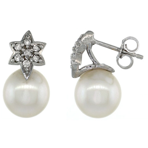 14k White Gold Flower Pearl Earrings w/ 0.14 Carat Brilliant Cut ( H-I Color; VS2-SI1 Clarity ) Diamonds & 8mm White Pearls