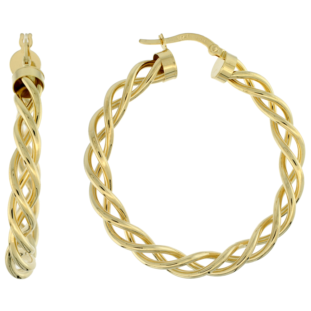 10K Yellow Gold Hoop Earrings Twisted Rope Tubing High Polish Finish Italy 1 1/2 inch