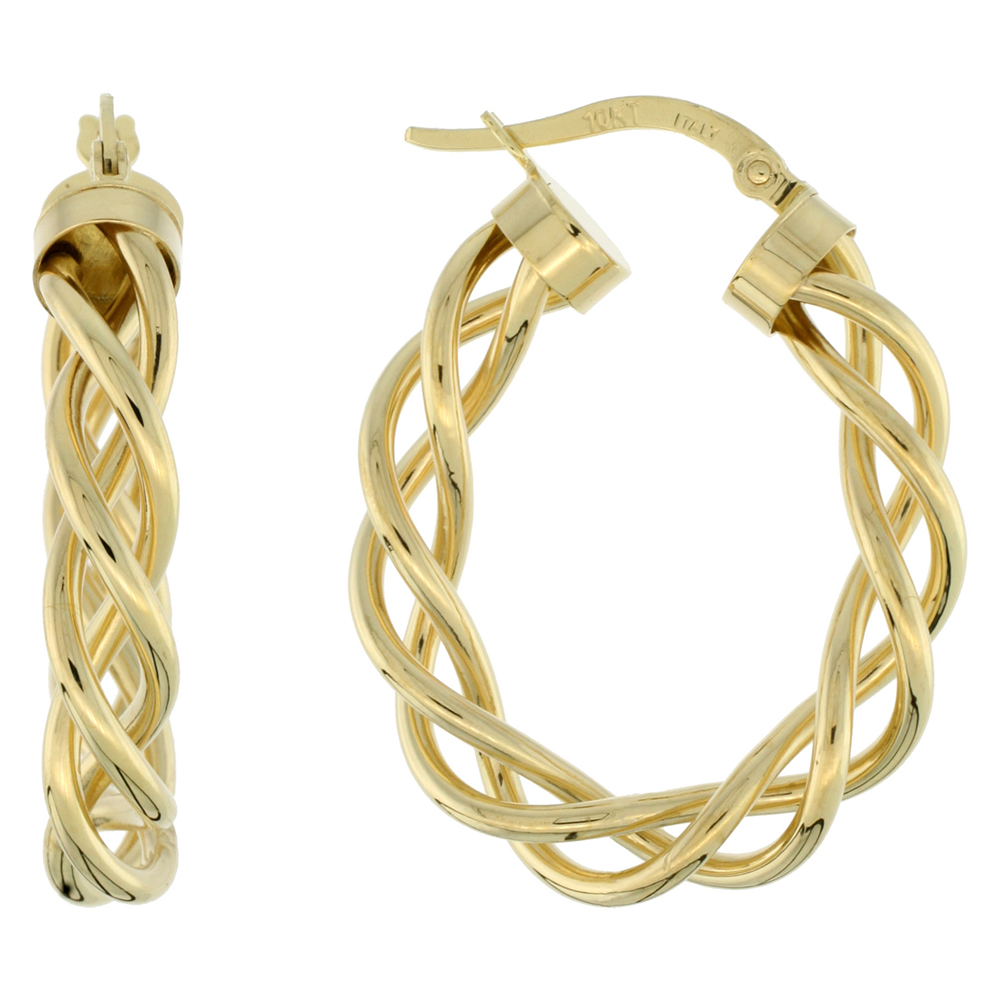 10K Yellow Gold Oval Hoop Earrings Twisted Rope Tubing High Polish Finish Italy 1 inch