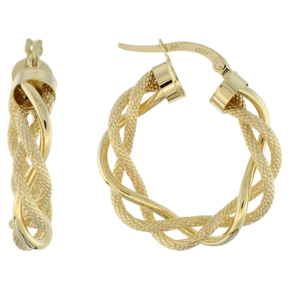 10K Yellow Gold Hoop Earrings Twisted Rope Tubing Two tone Textured Finish Italy 1 inch