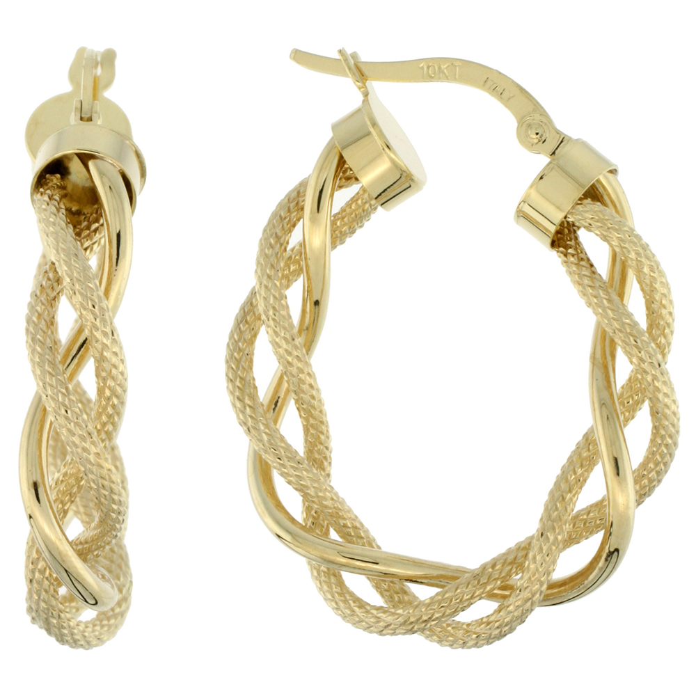 10K Yellow Gold Oval Hoop Earrings Twisted Rope Tubing Two tone Textured Finish Italy 1 inch