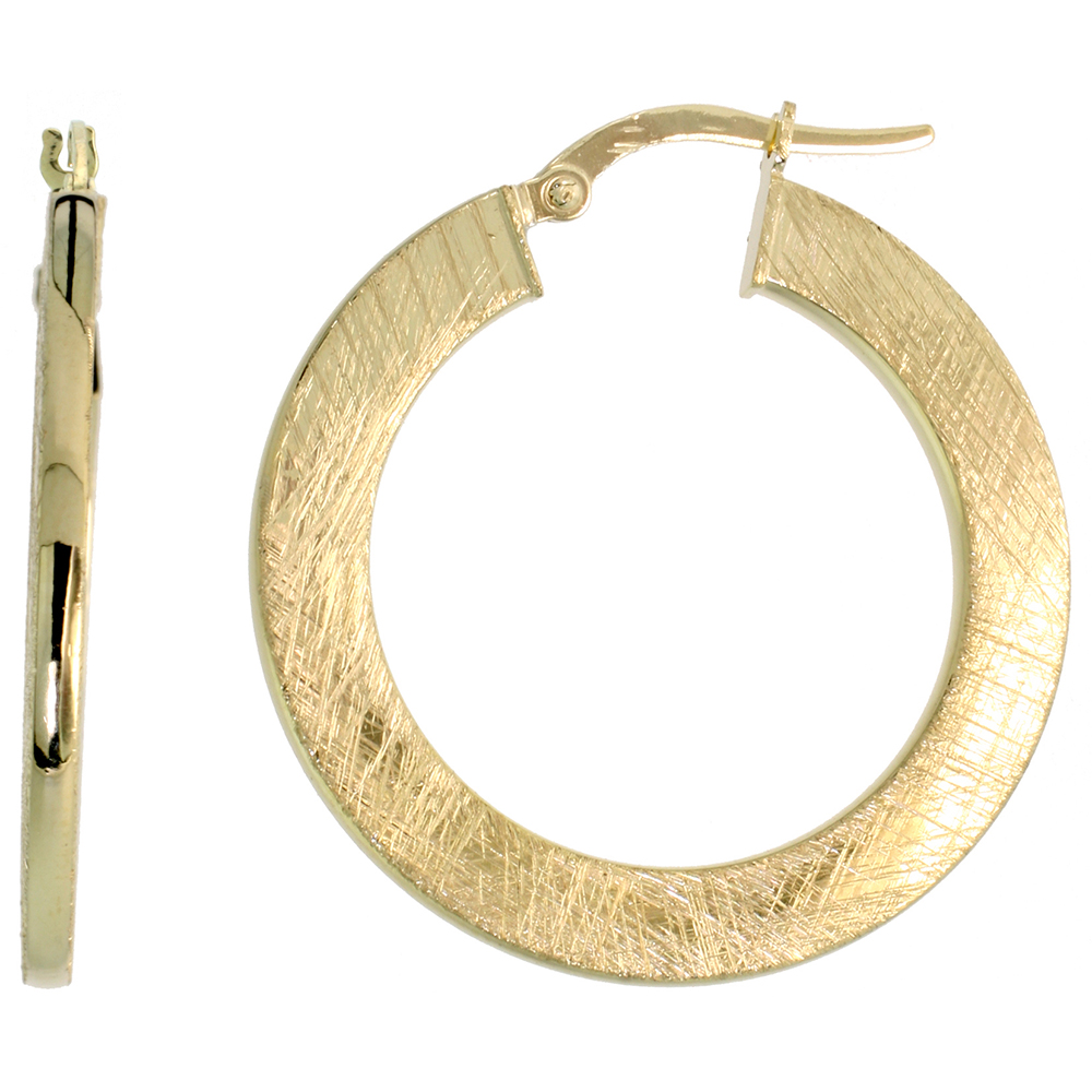 10K Yellow Gold Flat Hoop Earrings Crystallized Brush Finish Italy 1 3/16 inch