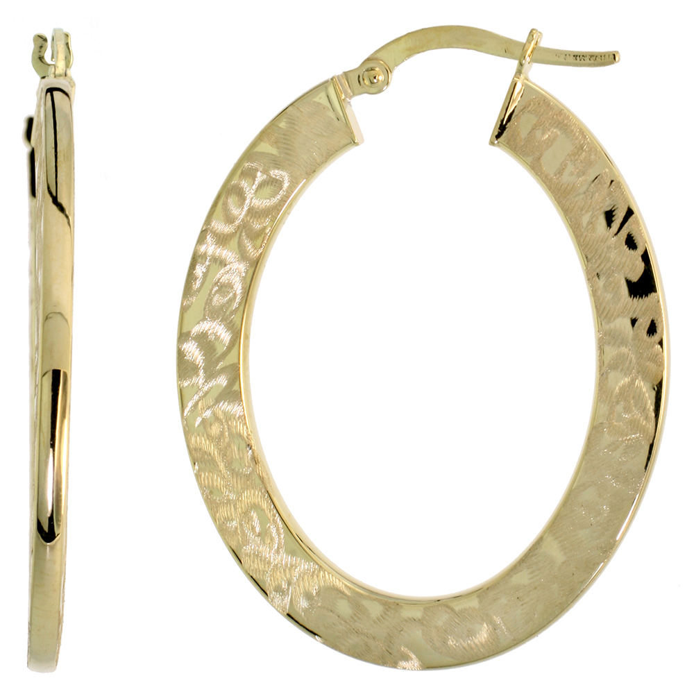 10K Yellow Gold Flat Hoop Earrings Oval Shape Abstract Brush Finish Italy 1 7/16 inch