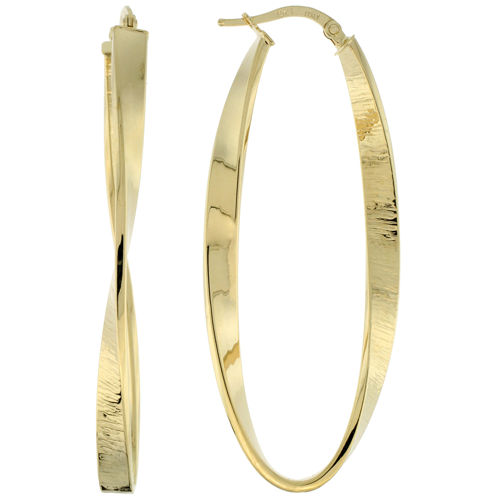 10K Yellow Gold Oval Hoop Earrings Twisted Flat Tubing Textured Finish Italy 2 inch