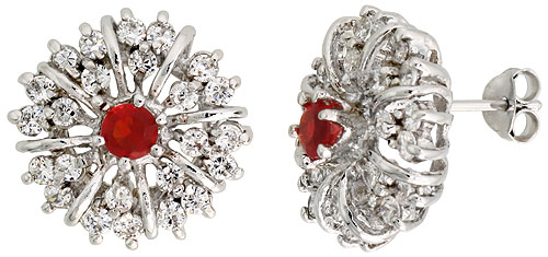 Sterling Silver Garnet Cubic Zirconia Starburst Earrings Rhodium finish, 1/2 inch long