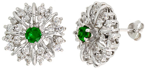 Sterling Silver Emerald Cubic Zirconia Starburst Earrings Rhodium finish, 1/2 inch long