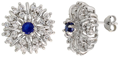 Sterling Silver Blue Sapphire Cubic Zirconia Starburst Earrings Rhodium finish, 1/2 inch long