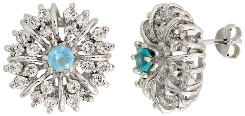 Sterling Silver Blue Topaz Cubic Zirconia Starburst Earrings Rhodium finish, 1/2 inch long