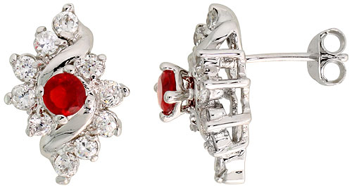 Sterling Silver Garnet Cubic Zirconia Earrings Diamond Shape Rhodium finish, 1/2 inch long