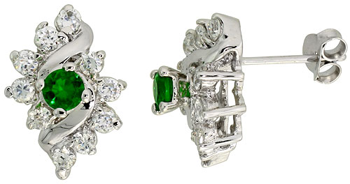 Sterling Silver Emerald Cubic Zirconia Earrings Diamond Shape Rhodium finish, 1/2 inch long