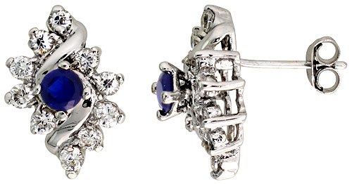 Sterling Silver Blue Sapphire Cubic Zirconia Earrings Diamond Shape Rhodium finish, 1/2 inch long