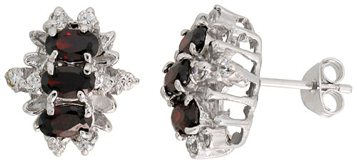 Sterling Silver Garnet Cubic Zirconia Earrings Oval Shape Rhodium finish, 1/2 inch long