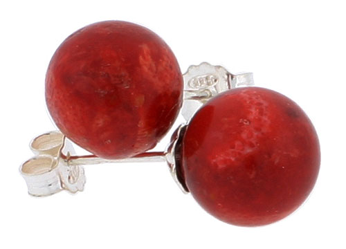 Sterling Silver Natural Coral Ball Stud Earrings 3/8 inches long