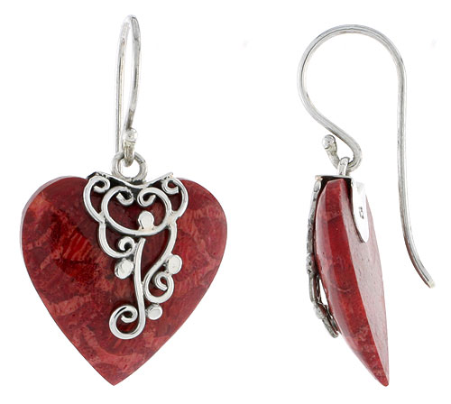 Sterling Silver Natural Coral Heart Shape Dangle Earrings 13/16 inches long