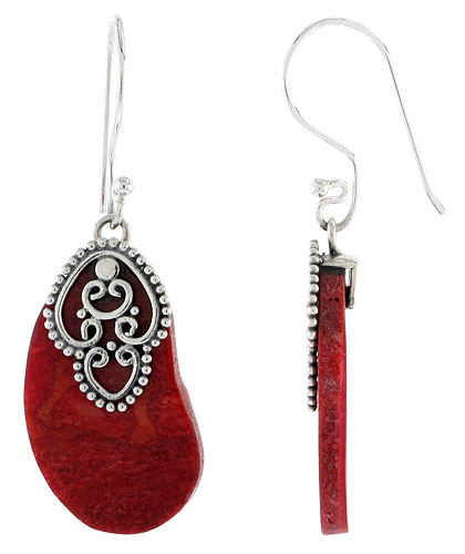 Sterling Silver Natural Coral Kidney Shape Dangle Earrings 1 inch long
