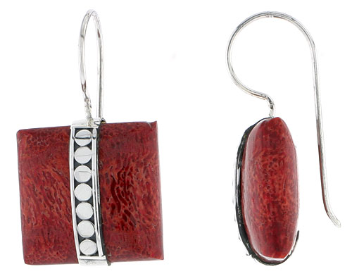 Sterling Silver Natural Coral Square Shape Earrings 11/16 inches long
