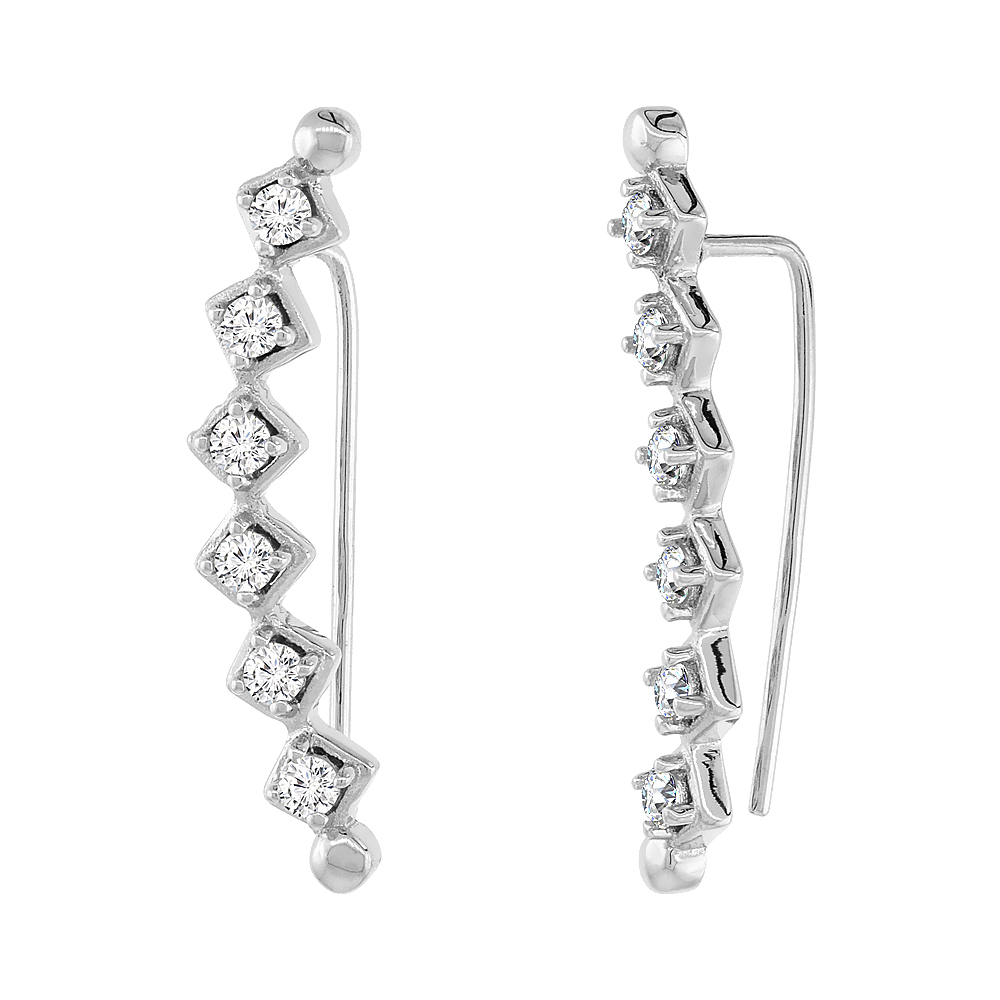 Sterling Silver Cubic Zirconia Square Ear Climber Earrings, 1 1/16 inch long