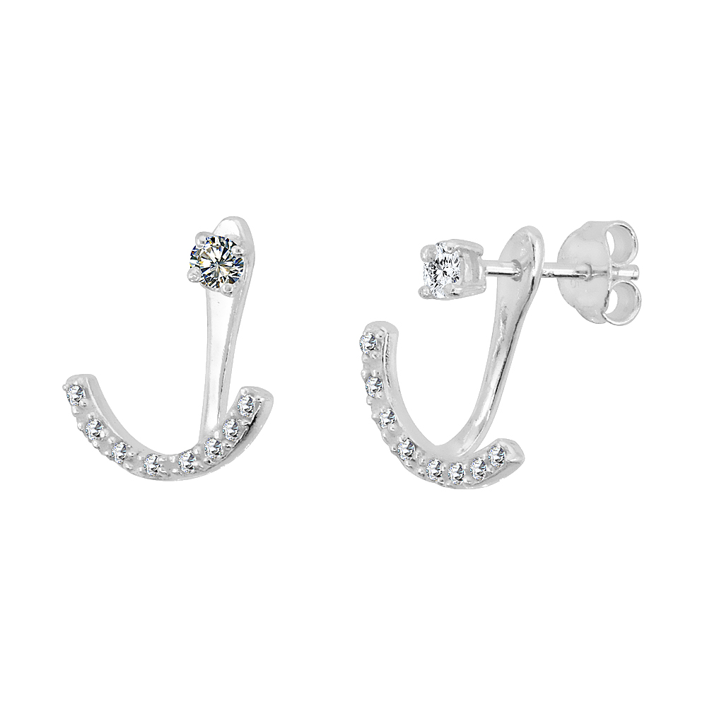 Sterling Silver Cubic Zirconia Detachable 2 pc. Stud & Crescent Ear Jacket Set