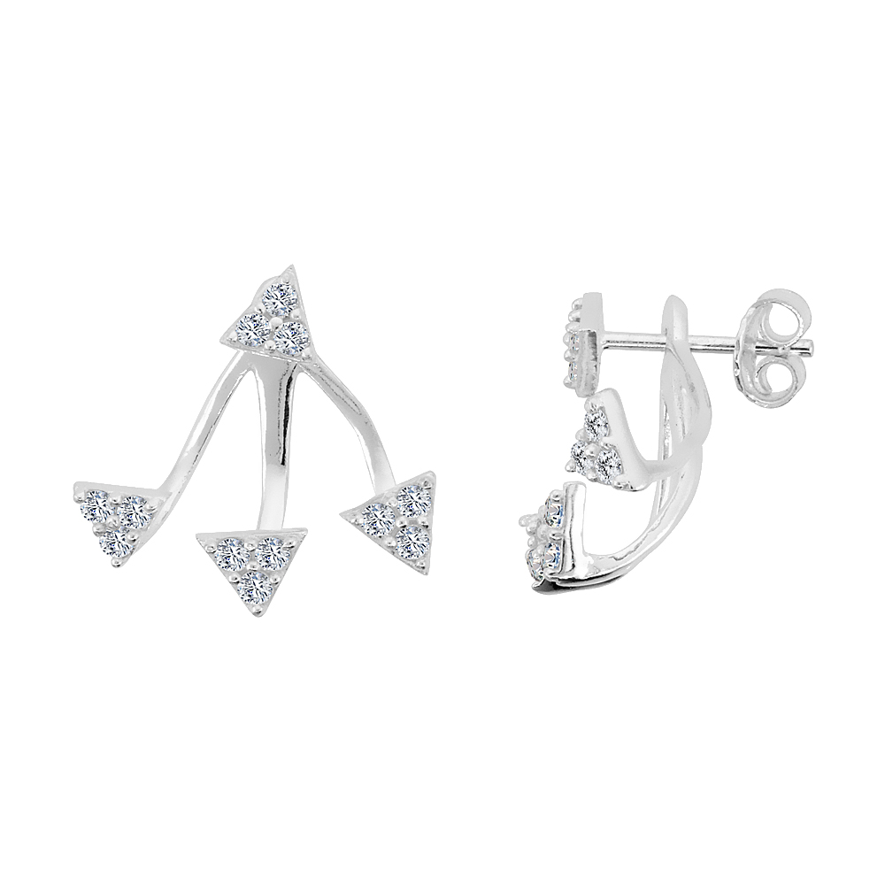 Sterling Silver Cubic Zirconia Detachable 2 pc. Triangle & Ear Jacket Set