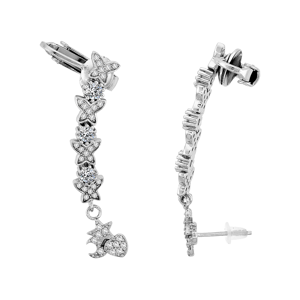 Sterling Silver Cubic Zirconia Star Stud & Ear Jacket Clip On Earrings, 1 3/16 inches long