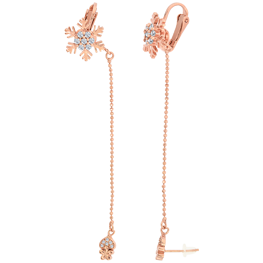Sterling Silver CZ Heart Stud & Snowflake Clip On Earrings & Ball Chain, Rose Gold Finish