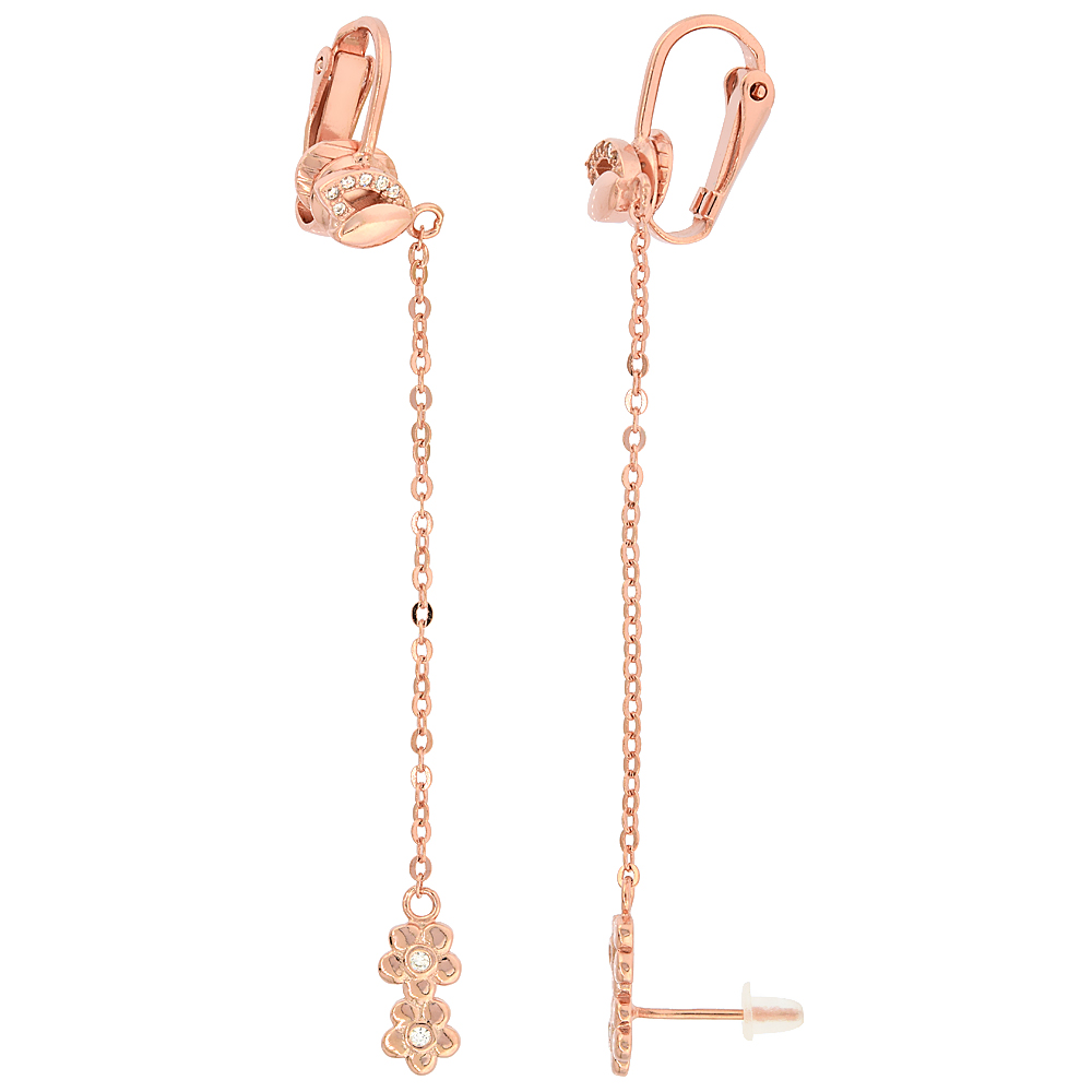 Sterling Silver Cubic Zirconia Flower Stud & Clip On Earrings & Cable Chain, Rose Gold Finish