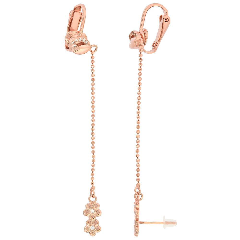 Sterling Silver Cubic Zirconia Flower Stud & Clip On Earrings & Ball Chain, Rose Gold Finish