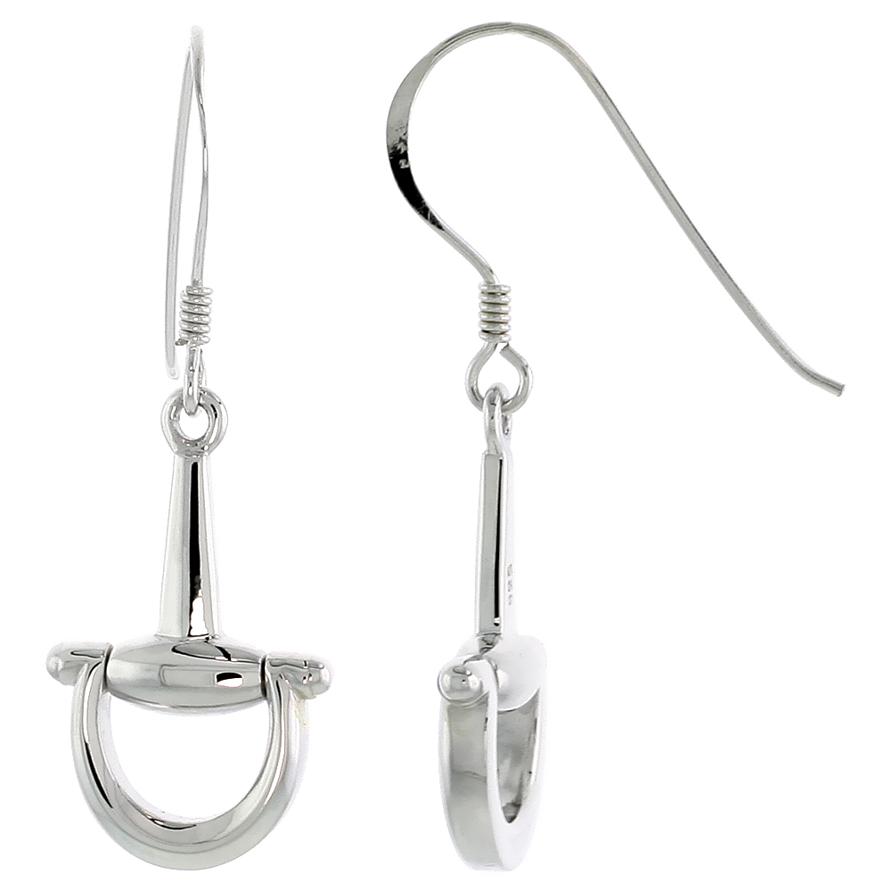 Sterling Silver Snaffle Bits Earrings Flawless Polished finish, 7/8 inch long