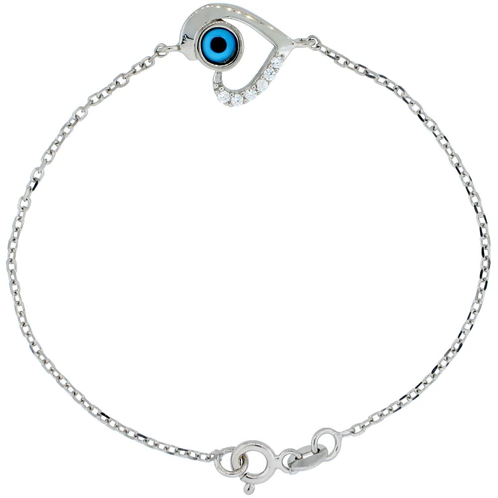 Sterling Silver Cubic Zirconia Heart Evil Eye Charm Bracelet, 6.75 inch
