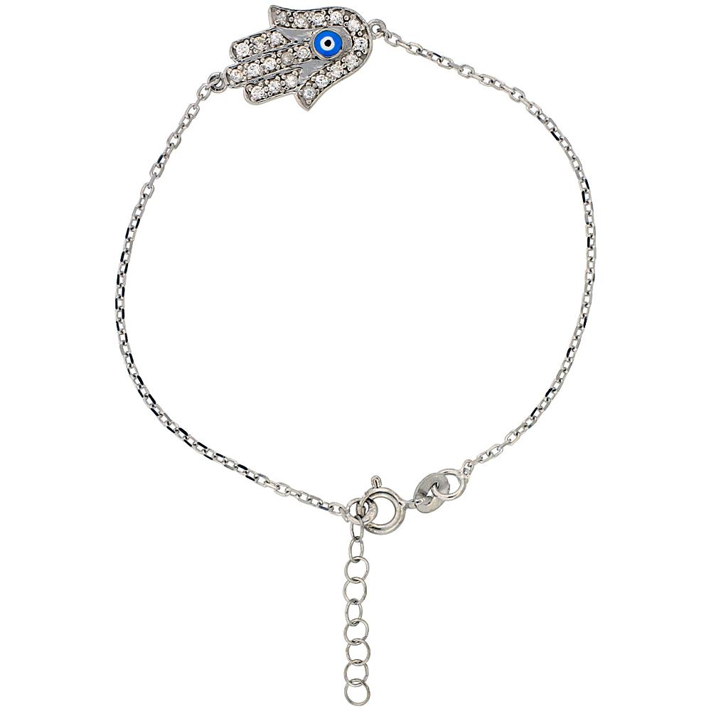 Sterling Silver Cubic Zirconia Hamsa Charm Bracelet, 6.75 inch