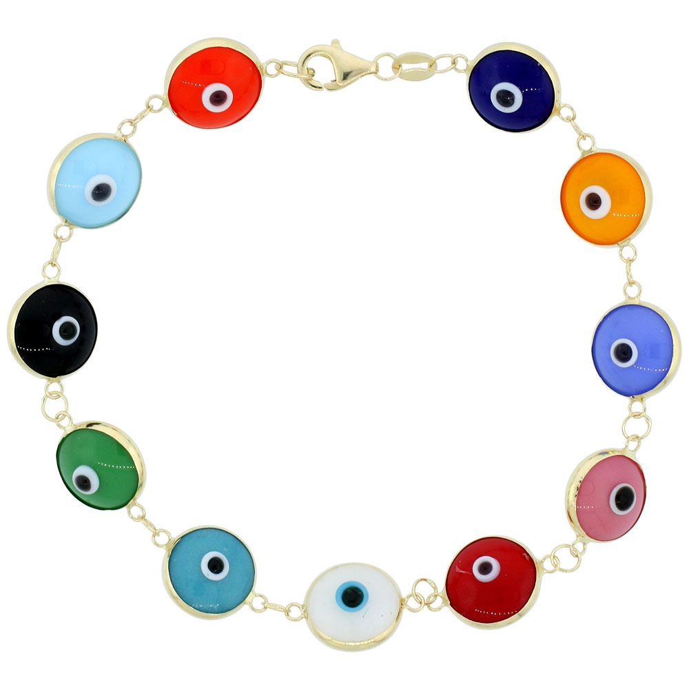 14k Gold Evil Eye Bracelet Multi Color, 7 inch