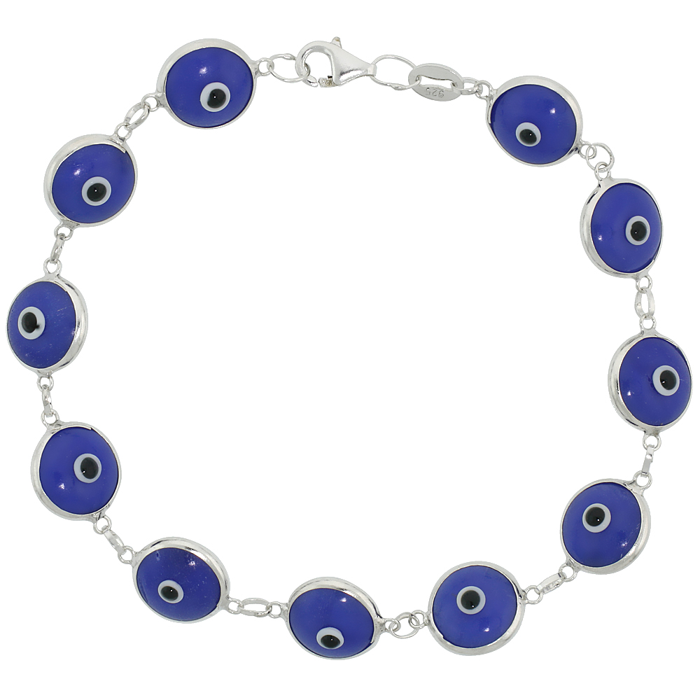 Sterling Silver Evil Eye Bracelet Navy Blue, 7 inch