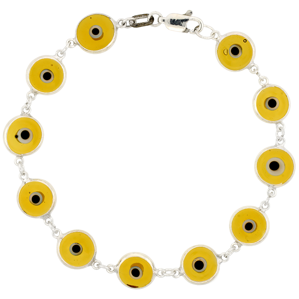 Sterling Silver Flat Evil Eye Bracelet Light Amber, 7 inch