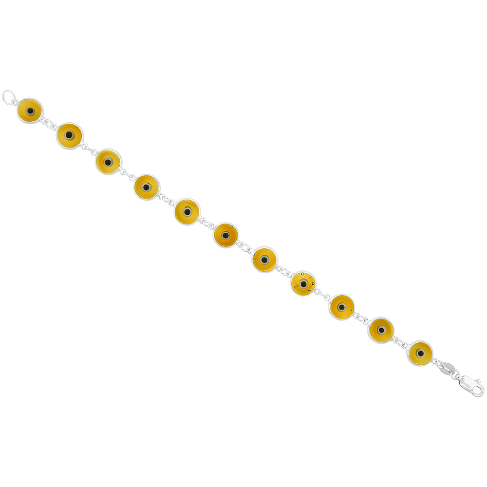 Sterling Silver Large Evil Eye Bracelet Light Amber, 7 inch
