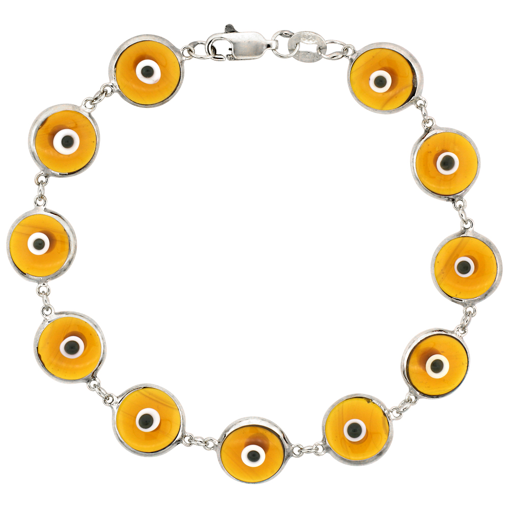 Sterling Silver Evil Eye Bracelet Light Amber, 7 inch