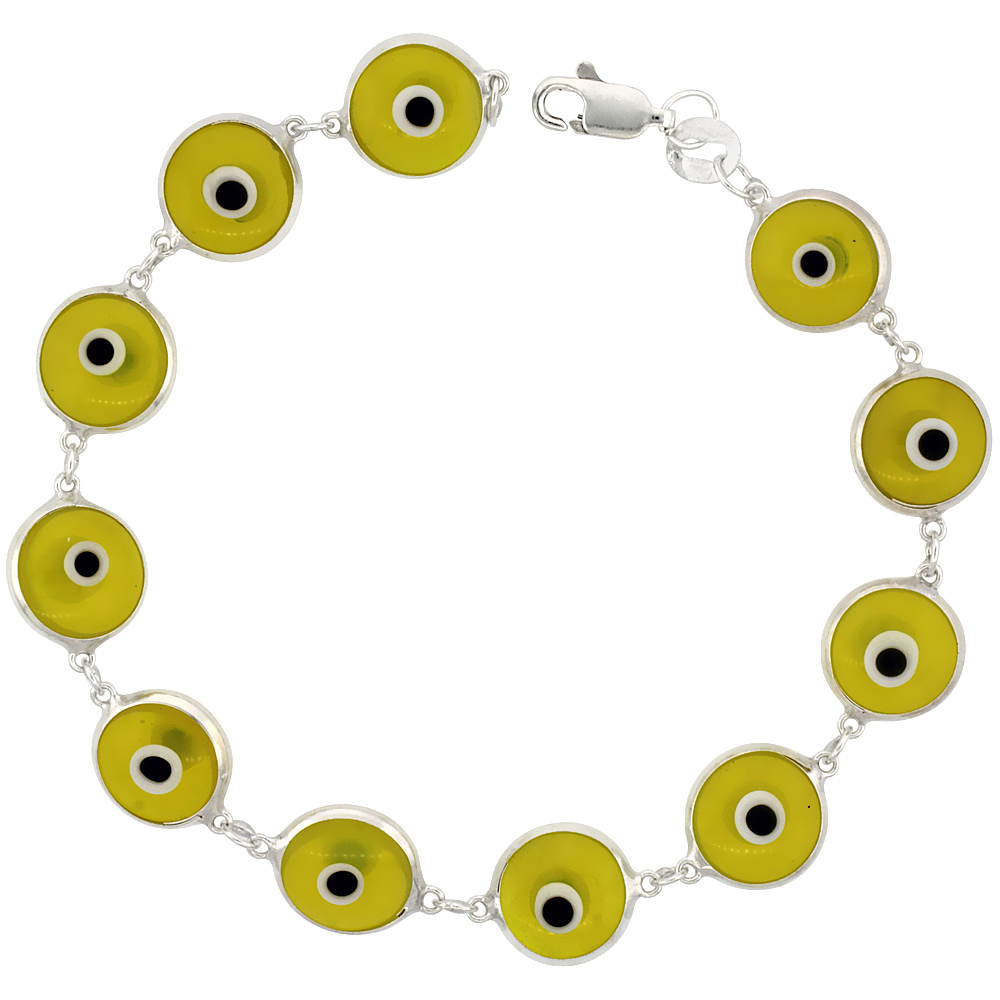 Sterling Silver Evil Eye Bracelet Clear Light Yellow, 7 inch