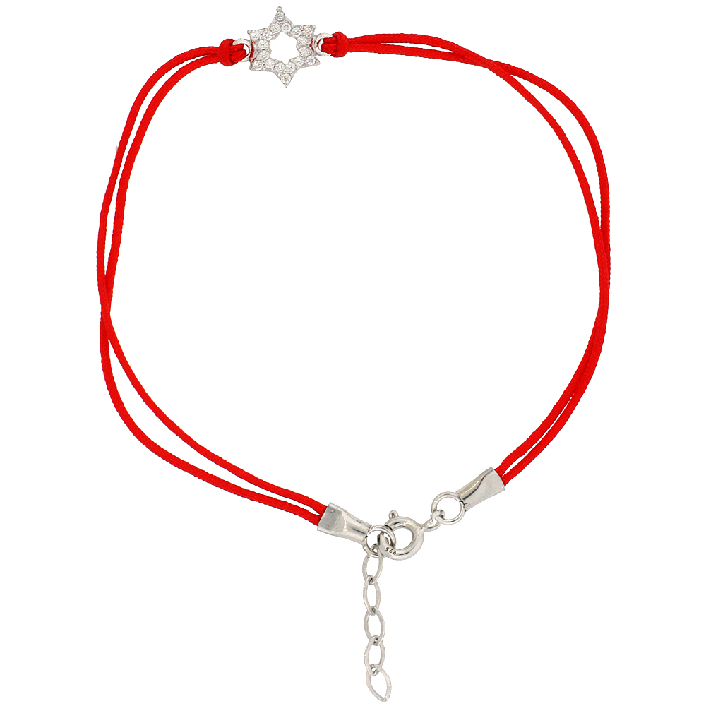 Sterling Silver Cubic Zirconia Red Silk Star of David Charm Bracelet 6.5 inch 1 inch Extension