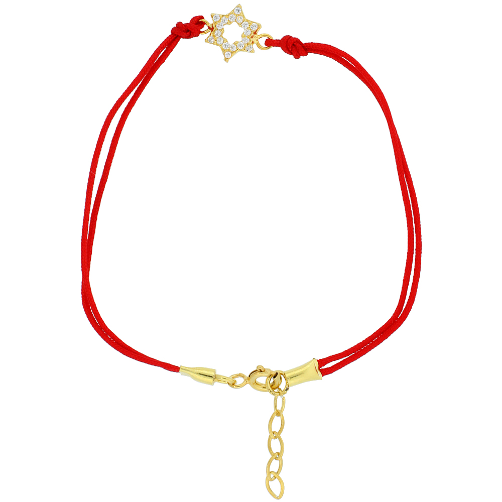 Sterling Silver Cubic Zirconia Red Silk Star of David Charm Bracelet Gold Plated, 6.5 inch 1 inch Extension